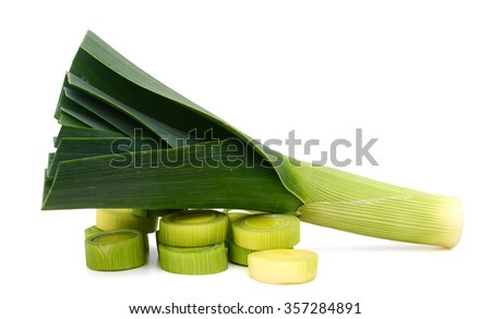 harvested leek on white background