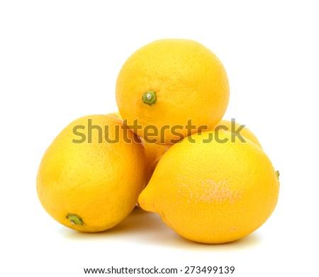 harvested lemons on white background  - stock photo
