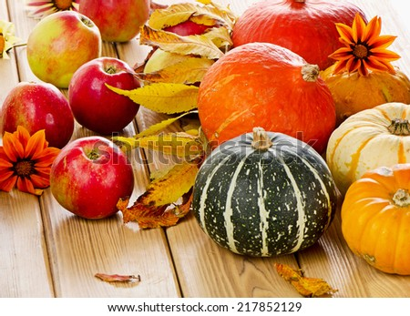 Harvested pumpkins with apples and fall leaves. Selective focus - stock photo