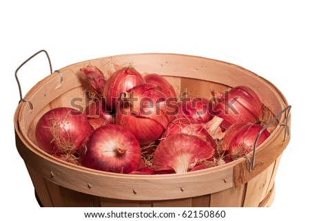 harvested red onions in bushel basket - stock photo