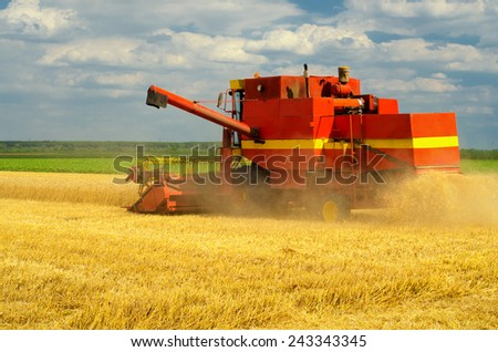 Harvester combine harvesting wheat on cloudy summer day. - stock photo