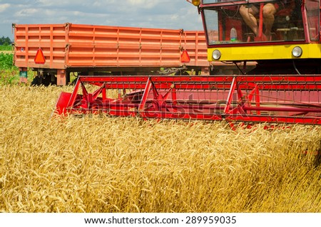 Harvester combine harvesting wheat on cloudy summer day with tractor trailer in the back. - stock photo