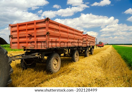 Harvester combine, tractor and trailers during wheat harvest on cloudy summer day. - stock photo