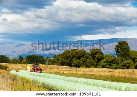 harvester packs grass and winds in the film long bales of hay to feed the animals in the winter time. mountains in the background in New Zealand. - stock photo