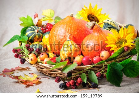 Harvesting arrangement of pumpkins with autumn leaves - stock photo
