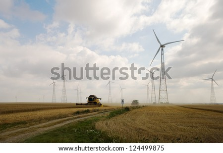 Harvesting on wheat field with windmills