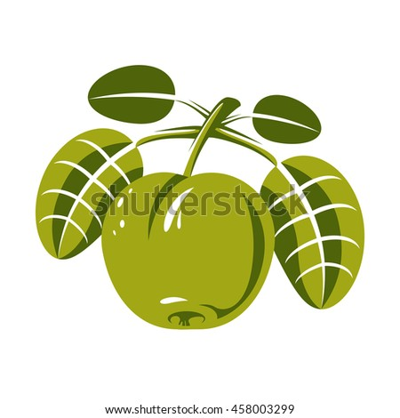 Harvesting symbol, single fruit isolated. Ripe organic sweet apple with green leaves, healthy food idea design icon. - stock photo