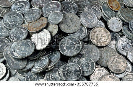Has withdrawn from circulation of RMB COINS, cents - stock photo