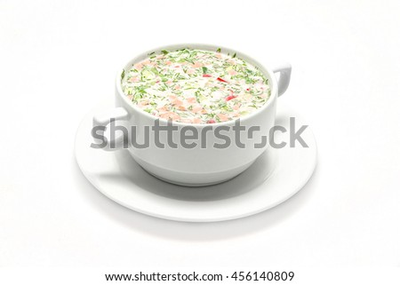 hash soup okroshka of radish, cucumber, white meat piala