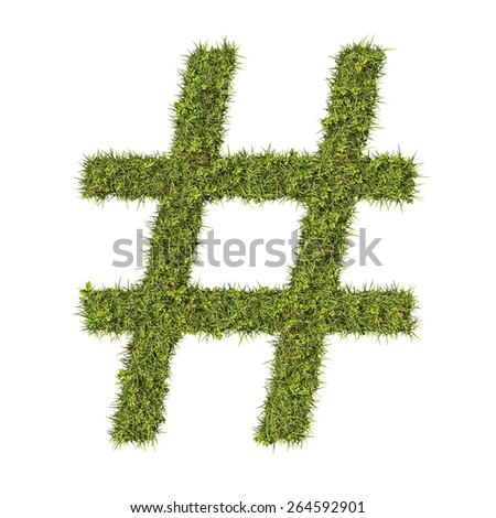 Hash tag or hash character made from grass. - stock photo