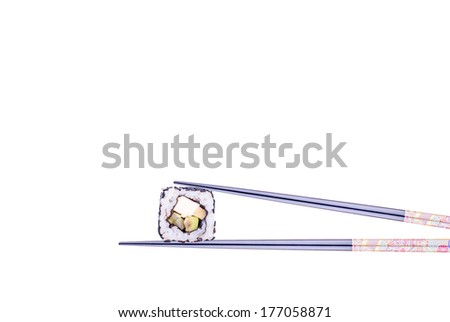 Hashi hold sushi and rolls isolated over white background