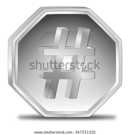 Hashtag Button - stock photo