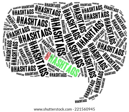 Hashtag in social media, # symbol. Word cloud illustration. - stock photo