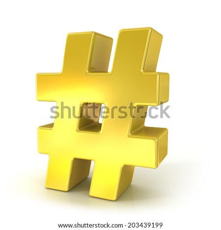 Hashtag, number mark 3d golden sign isolated on white background - stock photo