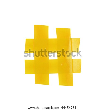 Hashtag number symbol made of insulating tape isolated over the white background - stock photo