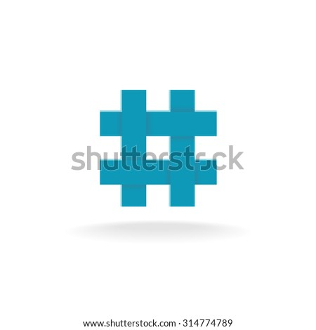 Hashtag symbol. Four crossing overlapped lines. - stock photo