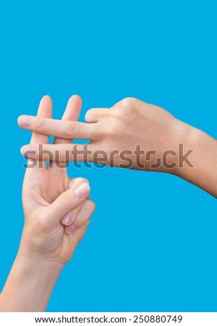 hashtag symbol with blue background - stock photo