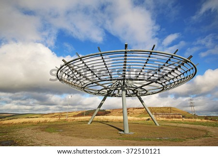 HASLINGTON, UK - FEBRUARY 3, 2016: 'Halo' is an 18m-diameter steel lattice structure supported on a tripod five metres above the ground. It is positioned to be clearly visible from the M66.  - stock photo