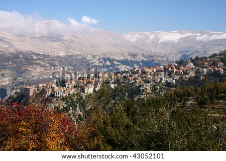 Hasroun, Lebanon-picturesque village high up in the mountains of Lebanon - stock photo