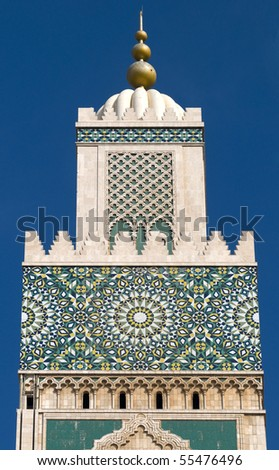 Hassan II Mosque, detail of minaret - Casablanca - Best of Morocco - stock photo