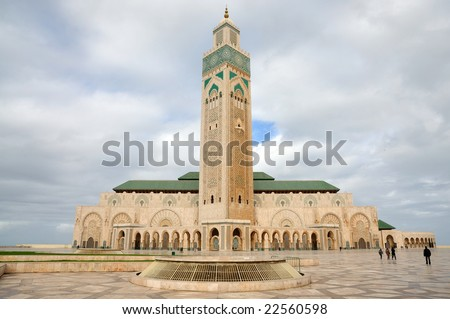 Hassan II Mosque in Casablanca, Morocco - stock photo