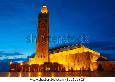 Hassan II Mosque in Casablanca, Morocco Africa - stock photo