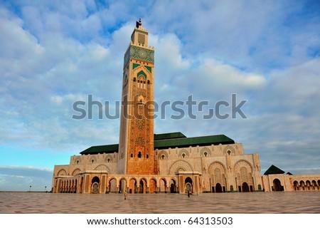 Hassan II Mosque in Casablanca, Morocco, Africa - stock photo