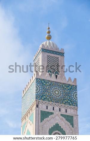Hassan II Mosque in Casablanca, Morocco - minaret - stock photo
