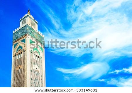 Hassan II Mosque in Casablanca, Morocco. Religion concept - stock photo