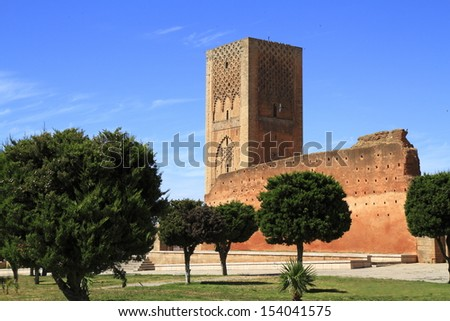 Hassan Tower is the minaret of an incomplete mosque in Rabat, Morocco. - stock photo