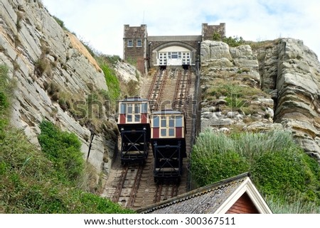 HASTINGS, ENGLAND - JULY 27. The United Kingdom's steepest funicular railway is not only a structure of national importance but also a source of immense local pride. July 27 2015 in Hastings, England.