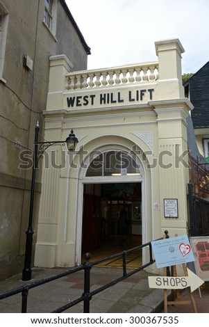 HASTINGS, ENGLAND - JULY 27. The West Hill Lift retains its original wooden Victorian coaches, and also runs through a tunnel, very unusual for a funicular. July 27 2015 in Hastings, England. - stock photo