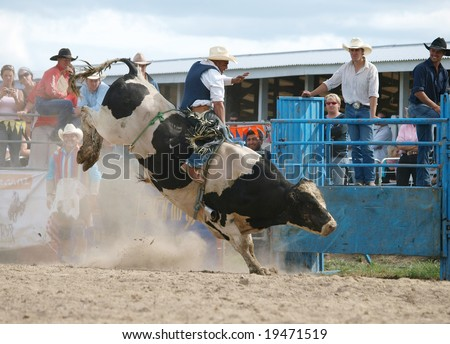 HASTINGS - October 24: Cowboy riding a bull at the Hawkes Bay rodeo. Hastings New Zealand October 24 2008 - stock photo