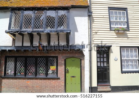 HASTINGS, UK - JUNE 28, 2015: All Saints Street in Hastings Old town with colorful houses