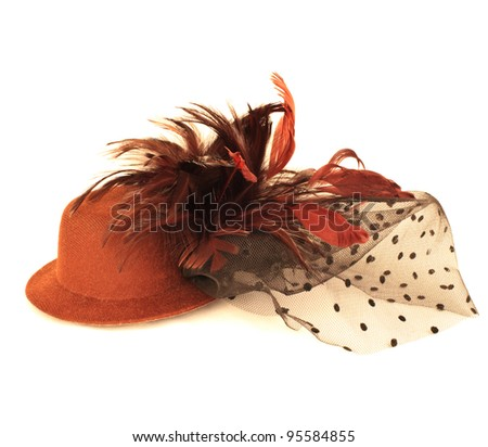 hat and bird feather isolated on white - stock photo