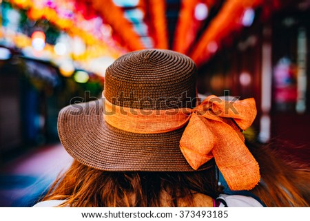 Hat and colors, Chinatown, Singapore, Chinese New Year 2016 - stock photo