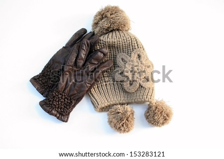 hat and gloves - stock photo
