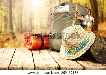 hat backpack and free space  - stock photo