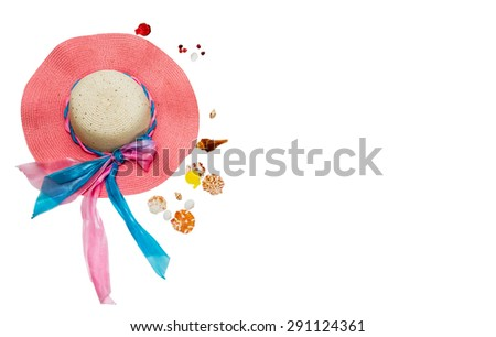 Hat for summer on white isolate background for decorate or design project. - stock photo