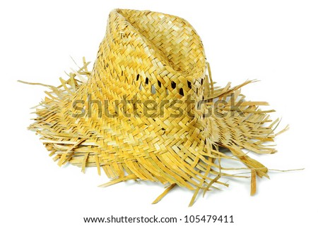 Hat made ??of grass. , To be worn. Fashion summer. - stock photo