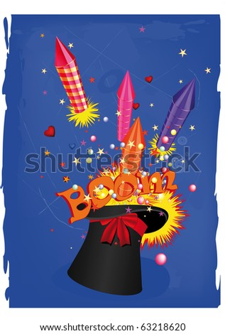 Hat of the conjurer and celebratory attributes. Raster version - stock photo