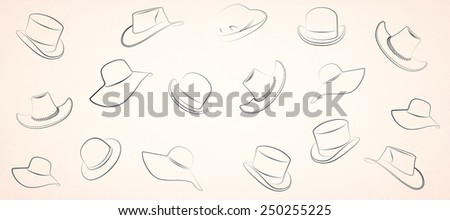 hat on a yellow background - stock photo