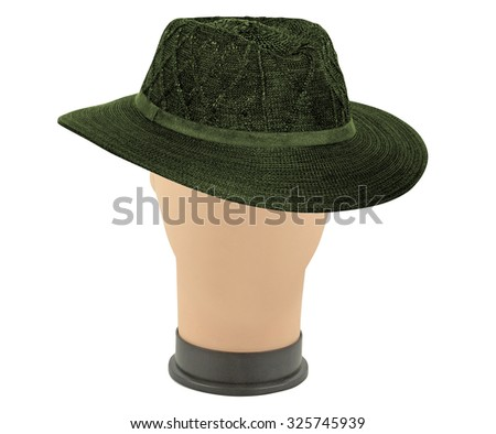 hat on manik isolated on white - stock photo