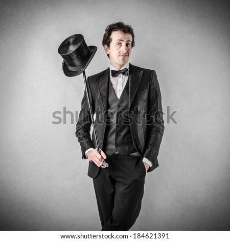 hat on stick - stock photo
