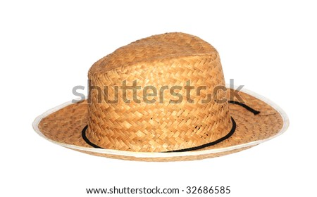 Hat straw. White background.