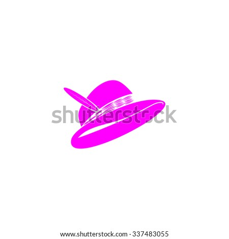 Hat with a feather. Pink icon on white background. Flat pictograph - stock photo