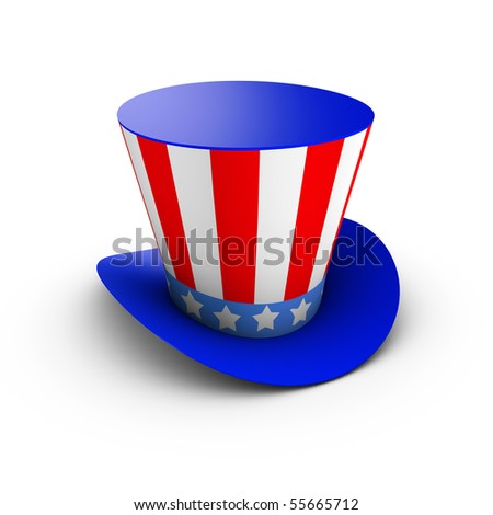 Hat with american flag theme - stock photo