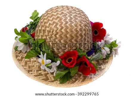 hat with flowers on a white background - stock photo