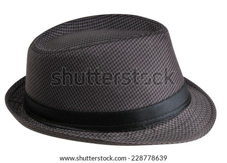 Hat with short fields on a white background (right side view) - stock photo