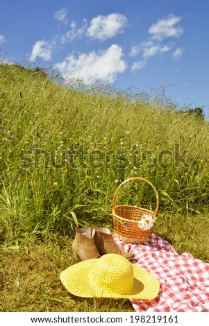 Hat woman, shoes and  and wicker basket on a picnic  in the prairie on a sunny summer day - stock photo